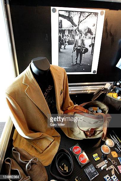 Clothes and the contents of legendary photographer Jim Marshal's camera bags on display at the 'Jack Jim' Gallery the largest exhibition of works...