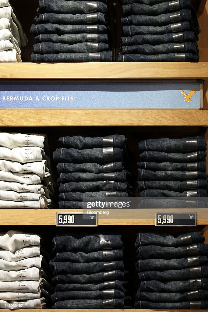 Clothes are displayed for sale at an American Eagle Outfitters Inc. store in Tokyo, Japan, on Wednesday, April 18, 2012. American Eagle Outfitters Inc., a retailer of men's and women's casual apparel, opened its first store in Japan inside the Tokyu Plaza Omotesando Harajuku retail complex in the Omotesando district of Tokyo today. Photographer: Kiyoshi Ota/Bloomberg via Getty Images