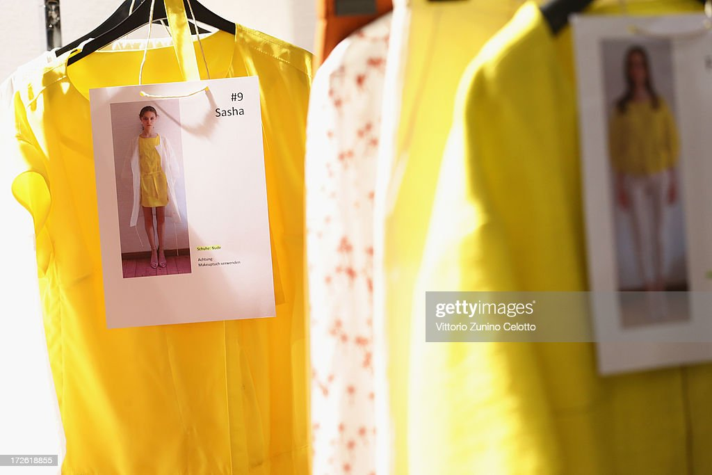 Clothes backstage ahead of the Dietrich Emter Show during the Mercedes-Benz Fashion Week Spring/Summer 2014 at Brandenburg Gate on July 4, 2013 in Berlin, Germany