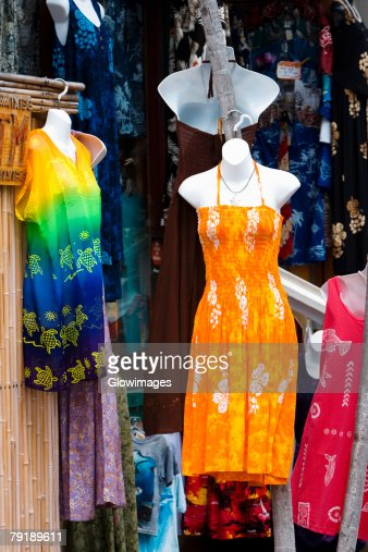 Clothes displayed at a market stall, Kona, Big Island, Hawaii Islands, USA : Foto de stock