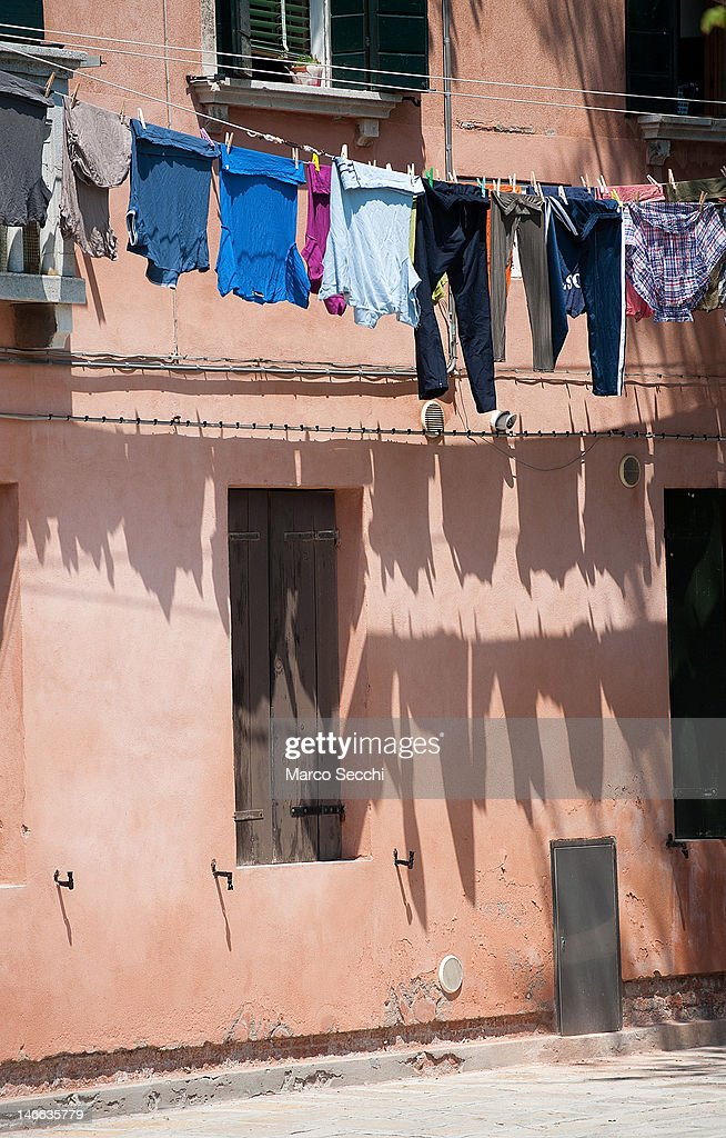 Clothes dry on a line on June 21, 2012 in Venice, Italy. An intense heatwave is sweeping across many regions in Italy, prompting the country's health ministry to issue a number of high level alerts.