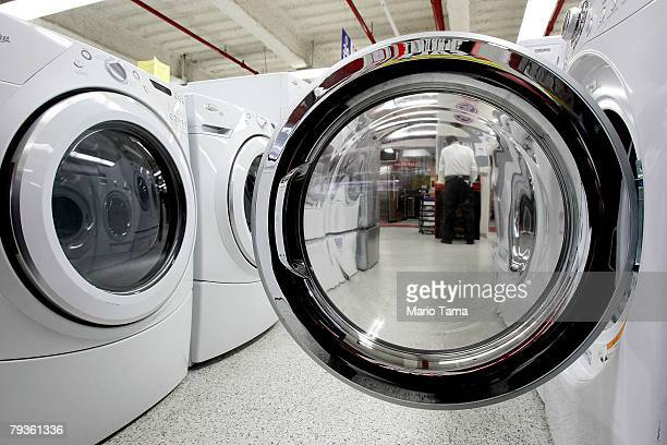 Clothes dryers are displayed in a PC Richard Son store January 29 2008 in New York City The Commerce Department announced that orders for durable...