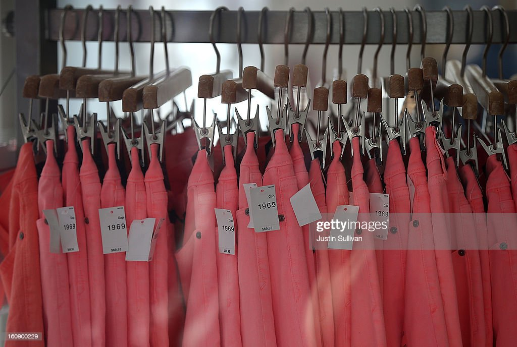 Clothes hang on a rack inside a Gap store on February 7, 2013 in San Francisco City. Monthly retail sales data showed a strong January for many of the top retailers, including the Gap Inc. who had sales that came in slightly over Wall Street expectations.