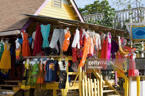 Clothes hanging at a market stall, West End, Roatan, Bay Islands, Honduras