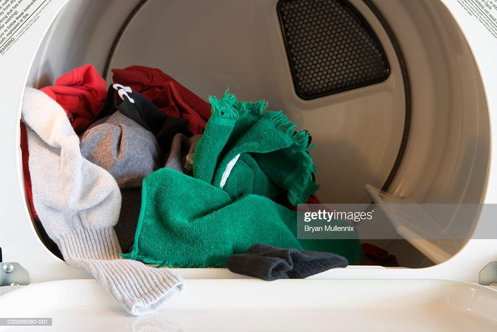 Clothes inside dryer machine