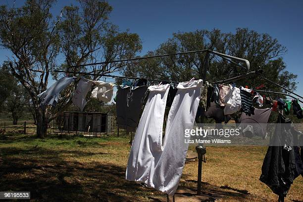 A clothes line at the Mercer's country home called 'Barina' which is part of the Rentafarmhouse scheme where families can rent a farmhouse in need of...