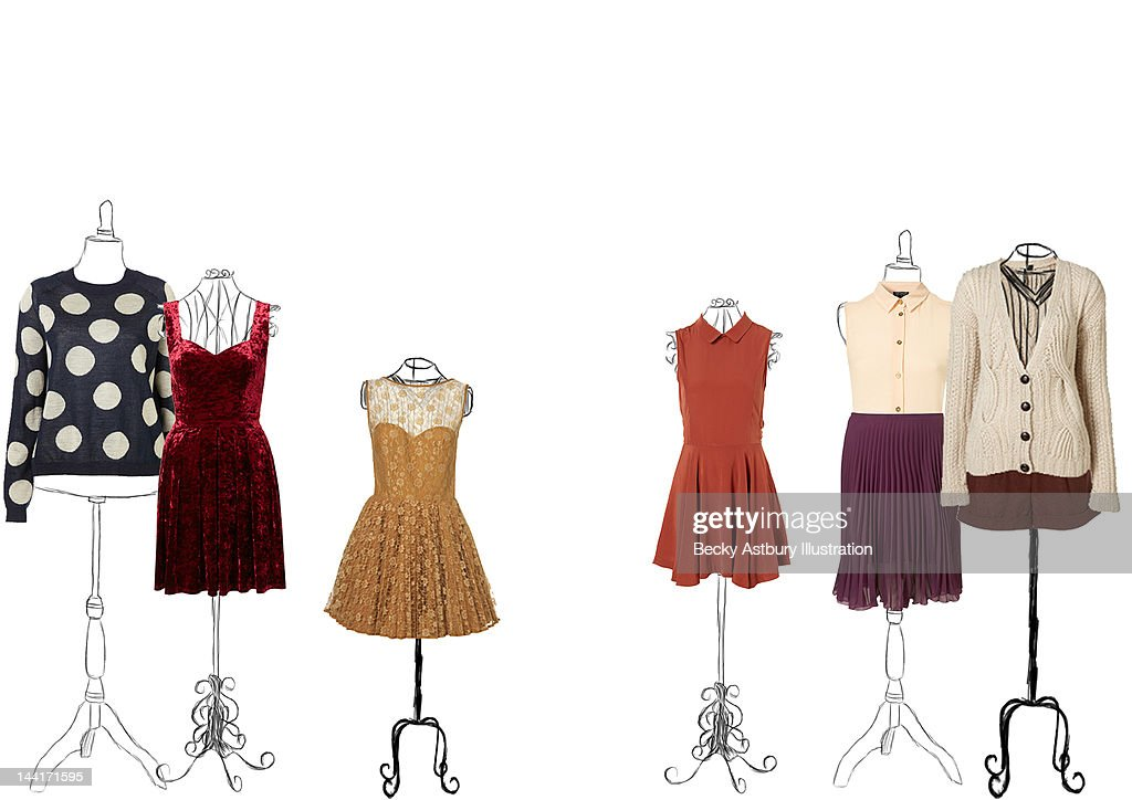 Clothes on vintage stands : Stock Photo