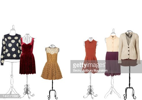 Clothes on vintage stands
