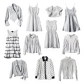 Set of white female clothes isolated over white