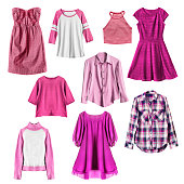 Group of pink female clothes on white background