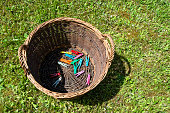 Clothes pins in a basket