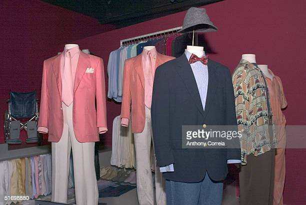 Clothes worn by actor Robert De Niro in the movie 'Wag the Dog' and 'Casino' are shown on display at the reception for the new exhibit at the Museum...