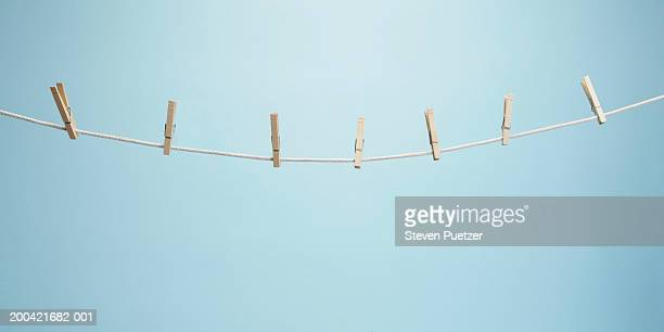 Clothesline with clothespins