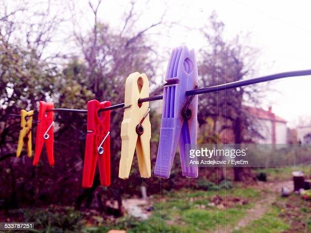 Clothespin On Clothesline