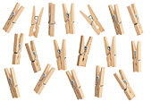 Clothespins with isolated clipping path.