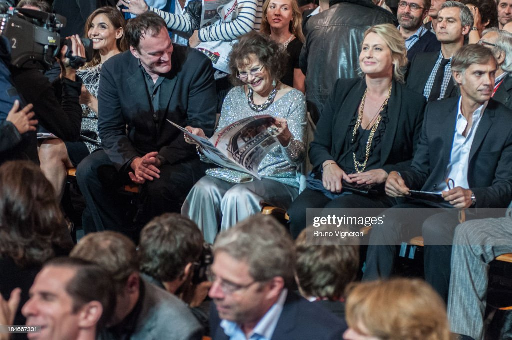 Clothilde Courau, Quentin Tarantino and Claudia Cardinale on October 14, 2013 in Lyon, France.