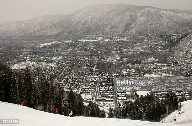 Clothilde Weyrich of France heads down the course as the city of Aspen as a backdrop during Women's FIS Alpine World Cup Downhill Training on...