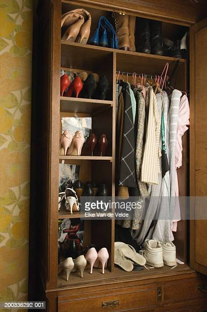 Clothing and shoes in closet