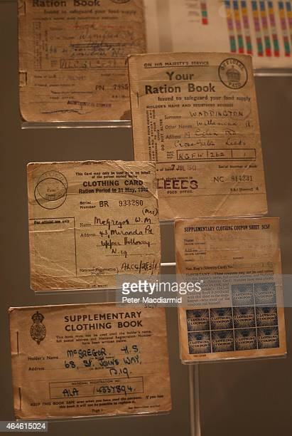 Clothing cards and ration books are displayed at the 'Fashion on the Ration 1940s Street Style' exhibition at The Imperial War Museum on February 26...