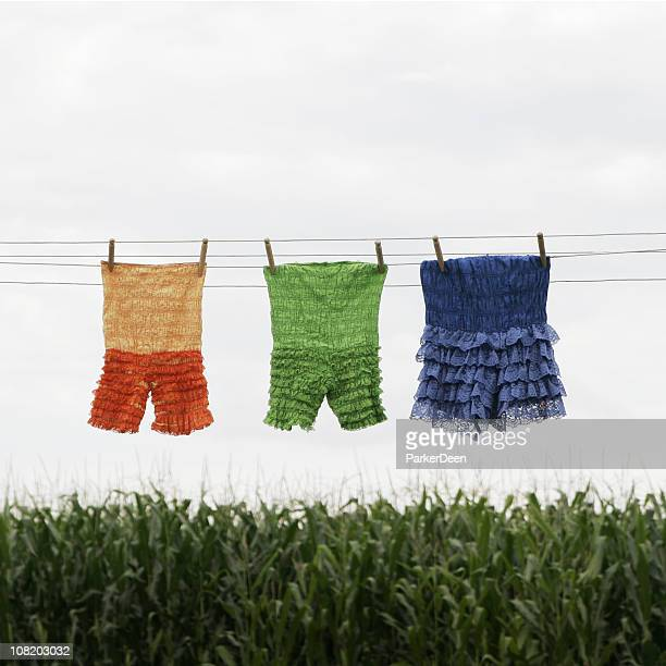 Clothing Hanging on Clothesline Drying- Ruffled Vintage Bloomers