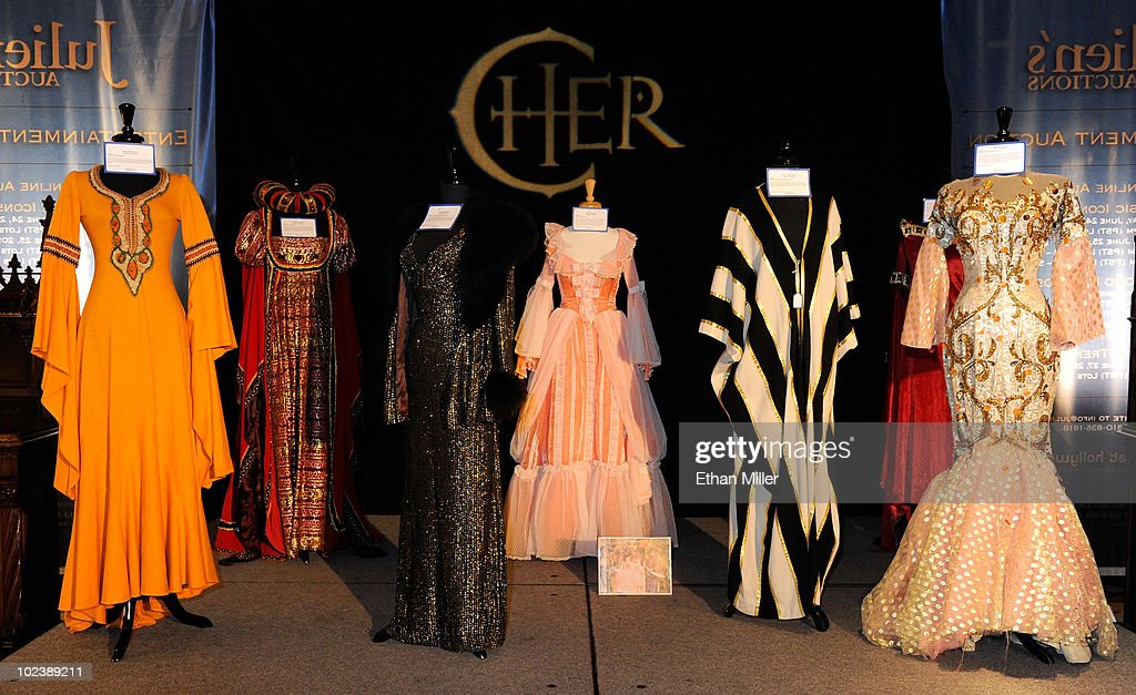 Clothing items from Cher and Sonny Bono are displayed at Julien's Auctions annual summer sale at the Planet Hollywood Resort & Casino June 24, 2010 in Las Vegas, Nevada. The auction, which continues through Sunday, features 1,600 items from entertainers including Michael Jackson, Anna Nicole Smith, Marilyn Monroe, Cher, Elvis Presley and Star Trek creator Gene Roddenberry.