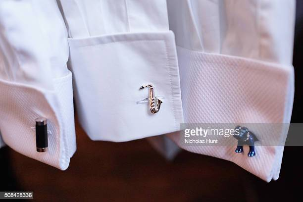 Clothing on display cufflink detail during the Thomas Pink Autumn/Winter 2016 Press Preview NYFWM at Soho House on February 4 2016 in New York City