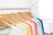 Clothing rack with colorful shirts