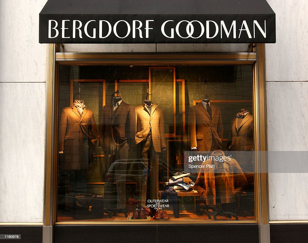 Clothing sits in a window display at the luxury clothing store Bergdorf Goodman September 10 2001 in New York City