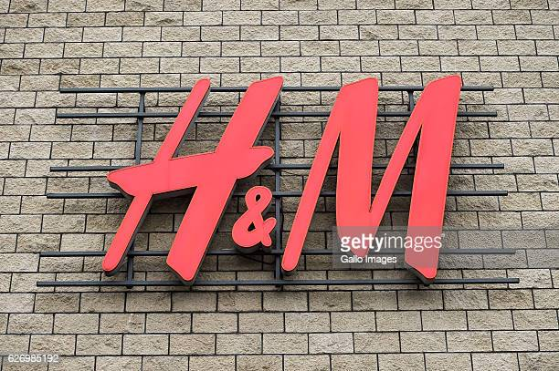 HM clothing store logo on the building located in the city center on November 30 2016 in Warsaw Poland Warsaw is home to many national institutions...