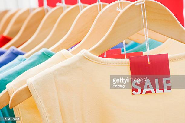Clothing with Sale Price Tag Label, Fashion Discount Retail Shopping