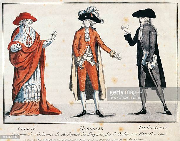 Clothing worn by the three orders of the EstatesGeneral the clergy nobility and the common people French Revolution France 18th century