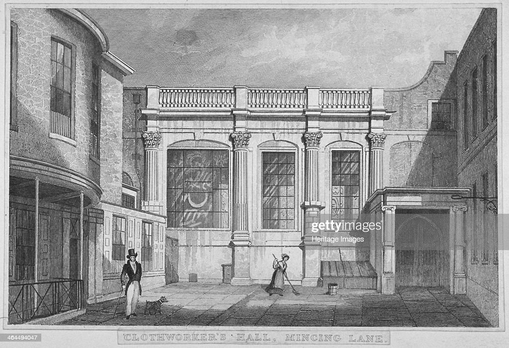 Clothworkers' Hall Mincing Lane City of London 1830 View showing a woman cleaning the floor and a man with a dog
