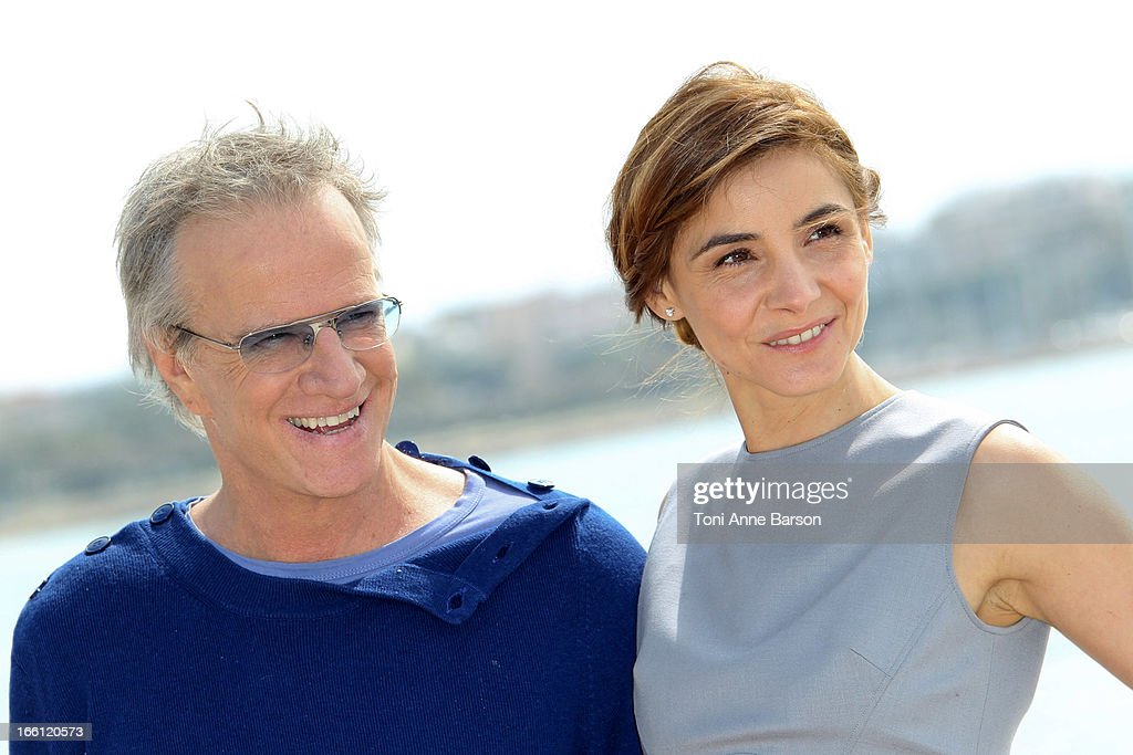 Clotilde Courau and Christophe Lambert attend 'La Source' Photocall on the Croisette during the 50th MIPTV on April 8, 2013 in Cannes, France.