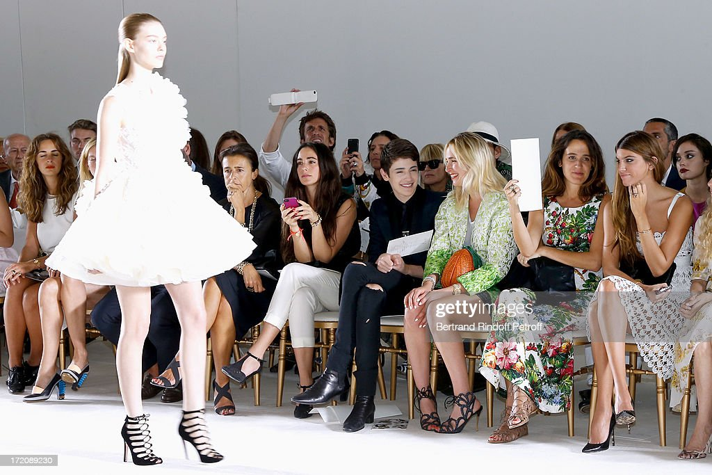 Clotilde de Kerkauson, Harry Brant, Elisabeth von Thurn und Taxis, Coco Brandolini d'Adda and her sister <a gi-track='captionPersonalityLinkClicked' href=/galleries/search?phrase=Bianca+Brandolini+d%27Adda&family=editorial&specificpeople=5507285 ng-click='$event.stopPropagation()'>Bianca Brandolini d'Adda</a> attend the Giambattista Valli show as part of Paris Fashion Week Haute-Couture Fall/Winter 2013-2014 on July 1, 2013 in Paris, France.