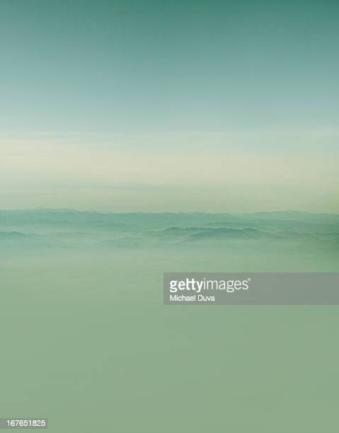 cloud and mountain scape aerial view