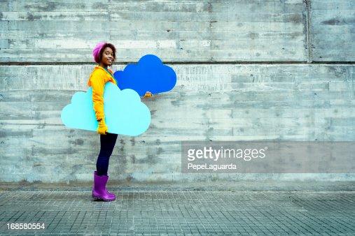 Cloud computing concept in urban scene