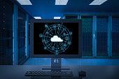 3d rendering cloud computing technology in server room