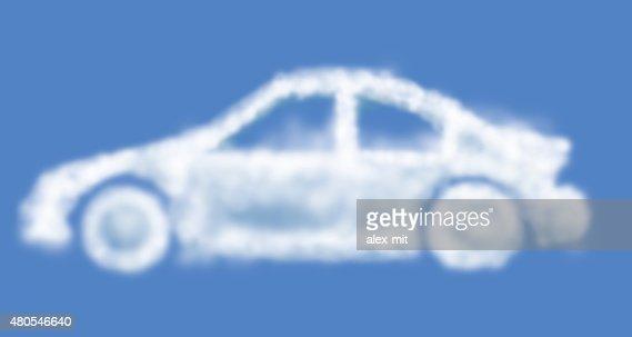 Cloud sueño coche aislada sobre luz azul : Foto de stock