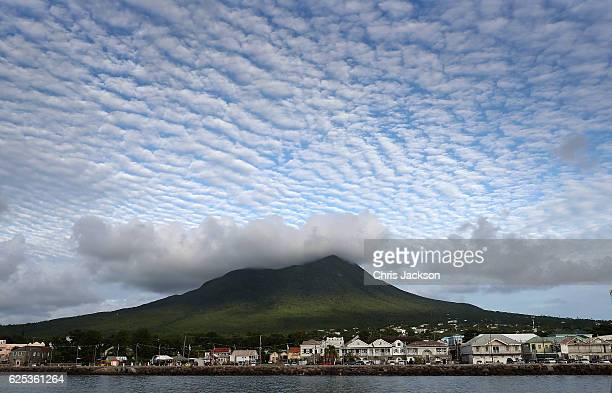 Cloud formations over the volcanic peak on Nevis on the fourth day of an official visit on November 23 2016 in Port Zante St Kitts and Nevis Prince...