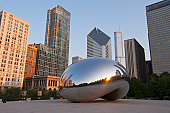 Cloud Gate Sculpture and Chicago Downtown Skyline