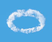 Cloud in  shape of  halo against the blue sky. 3D illustration.