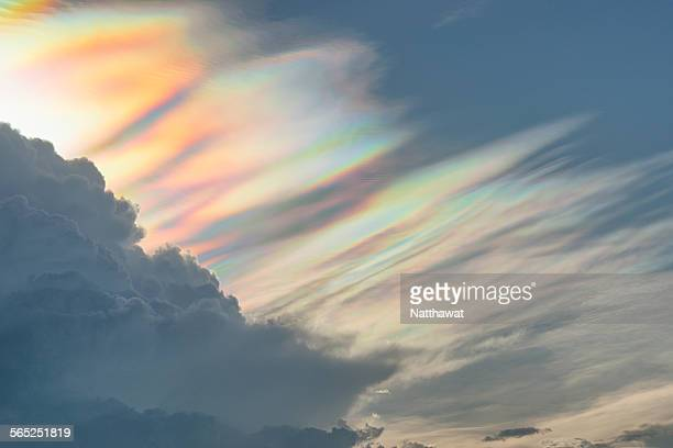 Cloud iridescence, showing a rainbow of colours