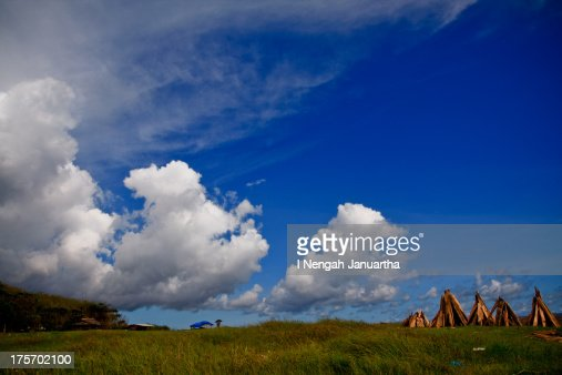 Cloud over the grass field : Stock Photo