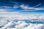 Cloud texture and blue sky by airplane