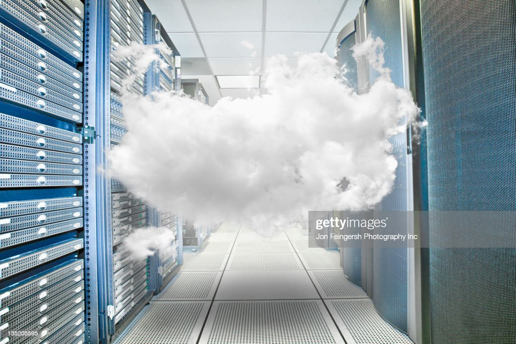 Cloud trapped in server room : Stock Photo
