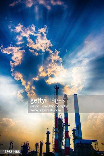 Cloudburst over smokestacks