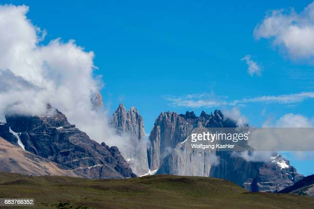 Clouds are clearing in Torres del Paine National Park in southern Chile
