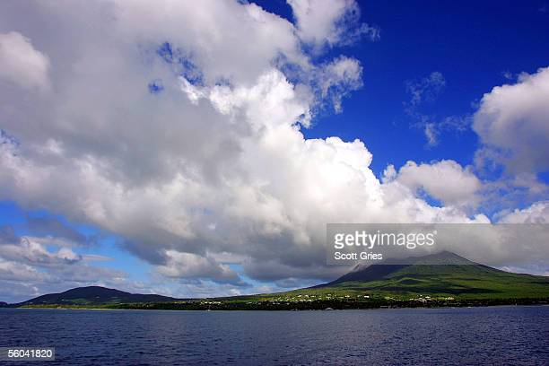 Clouds are seen above the island of Nevis before a preparty for the Tempo network launch event October 29 2005 in Nevis Brisish Virgin Islands