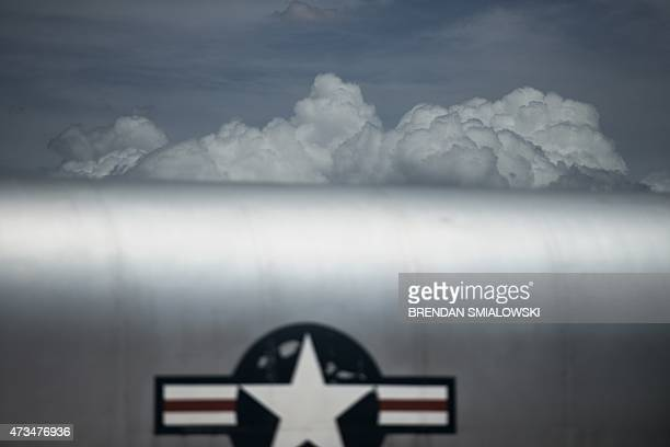Clouds are seen behind the fuselage of a Boeing B52 Stratofortress at the Pima Air and Space Museum May 13 2015 in Tucson Arizona AFP PHOTO/BRENDAN...