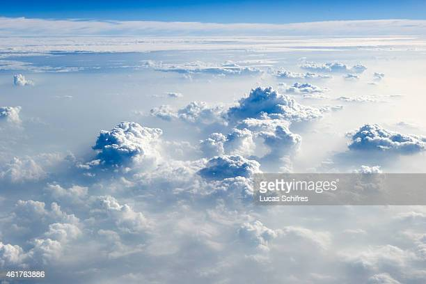 Clouds as seen from an airplane leaving from Chengdu on September 12 2010 in Sichuan province China
